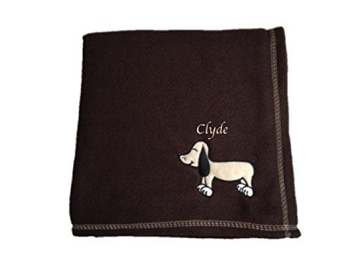 personalisierbar bestickt Dunkelbraun Pet Decke mit Hund Motiv