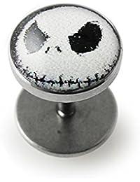 Faux Plug oreille avec logo Mr Jack. Barbell 16Gx1/4 (1.2x6mm) en acier chirurgical 316L avec logo 8MM en hauteur et Faux plug oreille IP Dome. Vendu par pièce uniquement