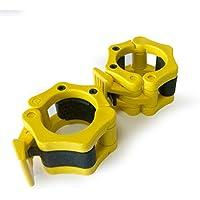 1 Coppia di 2 inch/50mm Quick Release Olimpico Lock-mascella Dimensioni Bilanciere morsetto collare Bar ABS Giallo - Manopole Modellata