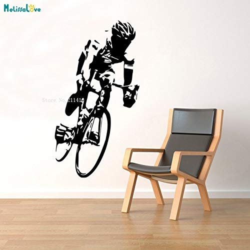 Cyclist Wall Vinyl Decal Cycle Race Sticker Extreme Sport Murals Room Interior Home Art Decoration Removable for Youth YT 56x104cm -