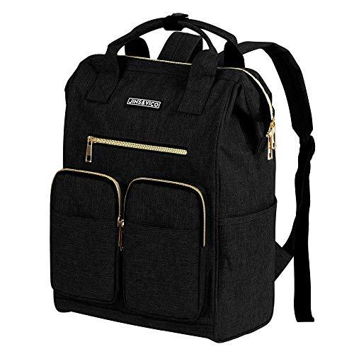 Rucksack Damen Herren Studenten Daypack Einfacher und Leichter Tagesrucksack für 13-Zoll Laptops Schwarz -