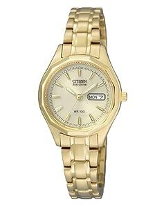 Citizen EW3142-56PE - Reloj analógico de cuarzo para mujer, correa de oro amarillo color dorado (solar) de Citizen