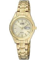 Citizen Damen-Armbanduhr Analog Quarz Gelbgold EW3142-56PE