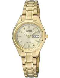 Citizen Damen-Armbanduhr Analog Quarz Gelbgold EW3142-56PE
