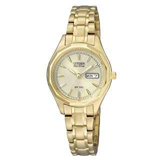 Citizen EW3142-56PE – Reloj analógico de Cuarzo para Mujer, Correa de Oro Amarillo Color Dorado (Solar)