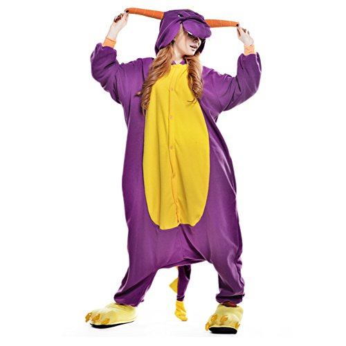 LSERVER Adulte Unisexe Animal Costume Cosplay Combinaison Pyjama Kigurumi Tenue en Flanelle Halloween Soiree de Deguisement, Violet Dragon, M (Fit For 158-165cm)