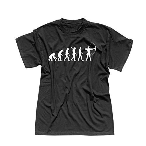 T-Shirt Evolution Bogenschütze Kyudo FITA Robin Hood 13 Farben Herren XS - 5XL IFAA DBSV Sport 3D-Schießen Langbogen Zielscheibe Pfeil Jagd, Größe:L, Farbe:schwarz - Logo Weiss