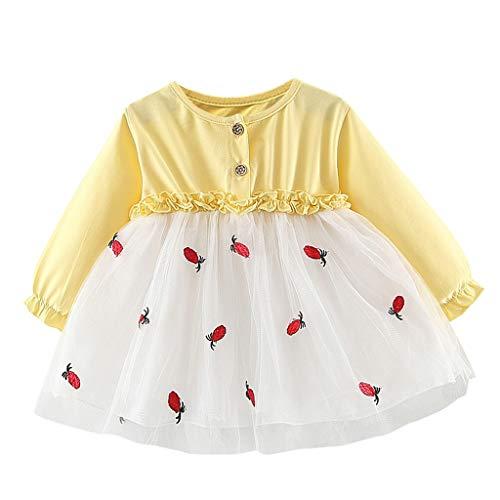 Livoral Madchen Kleider festlich Kleinkind Kinder Baby Mädchen Bestickt Tüll Patchwork Tutu Prinzessin Party Kleid(Gelb,80)