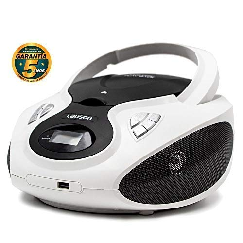 Lauson CP640 Lettore Cd Portatile Bluetooth | USB | Bambini Radio | Stereo Radio FM | Boombox | CD/MP3 Player | LCD-Display (Bianco)