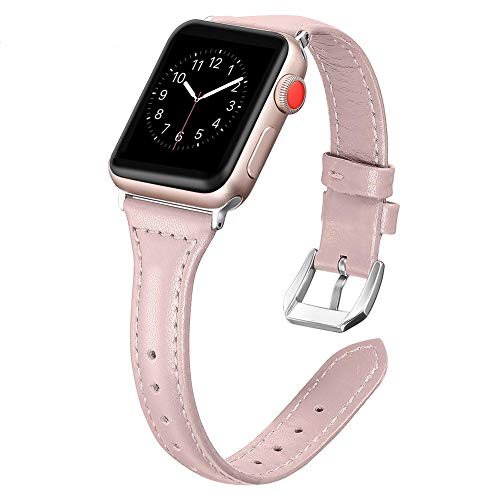 Dolank for Apple Watch Strap 38mm / 42mm Slim Replacement Leather Bracelet Sport Bracelet for Iwatch Nike +, 3 2 1 Series, Stainless Steel Buckle Edition, Pink, 38 mm