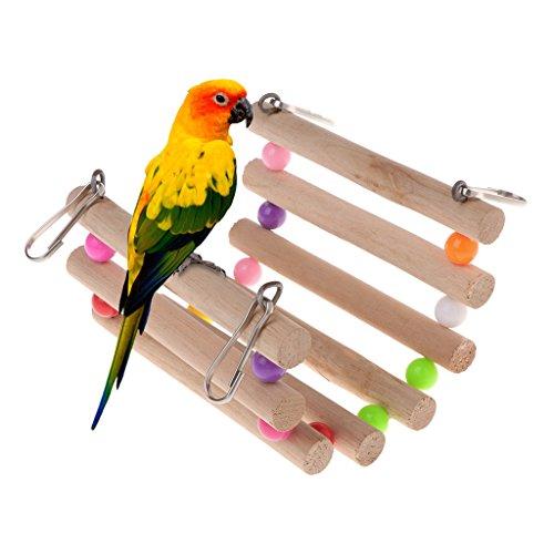 Valcano Papagei Spielzeug Holzleiter Stair Stand Halter Vögel Kreative Brücke Bunte Perlen -
