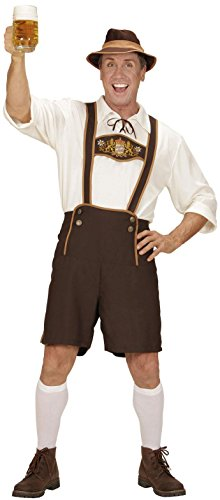Widmann - Erwachsenenkostüm Bayer, Lederhose mit Hemd, Socken und Hut