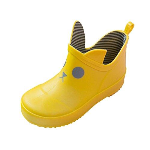 Honestyi- Sommer Kinder MädchenSandalen Quietschend Sommerschuhe Offene Kinder Schuhe Infant Kinder Kind Cartoon Print Striped Gummiregen Wasserdichte Stiefel Regen Schuhe (27, - Kleinkind-gelb Regen Stiefel
