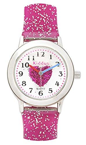 Kinder Armband Uhr für Mädchen, rosa Herz mit glitter armband, wasserfest (3 ATM), hohe Qualität Quarz Mechanismus Seiko, Batterie Sony, in Geschenk-Box, Kiddus ref FAB2
