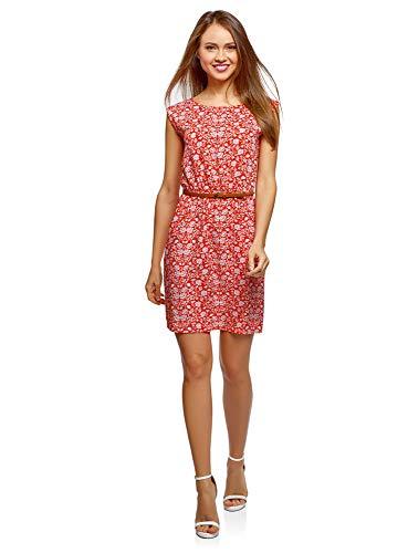 oodji Ultra Damen Ärmelloses Kleid aus Bedruckter Viskose, Rot, DE 34 / EU 36 / XS
