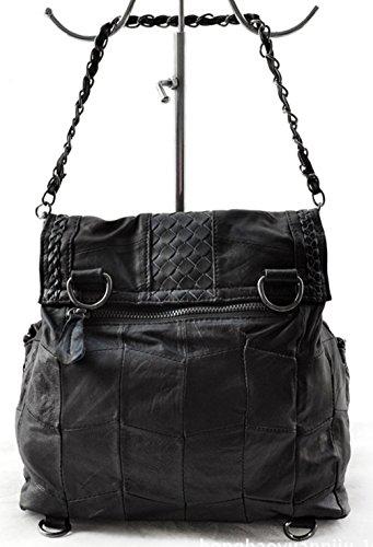 Keshi Schaffell Cool Damen Handtaschen, Hobo-Bags, Schultertaschen, Beutel, Beuteltaschen, Trend-Bags, Velours, Veloursleder, Wildleder, Tasche Schwarz