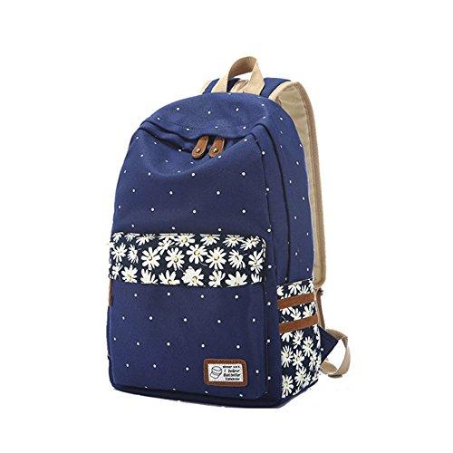 Imagen de  de tela evay estilo retro polka dot daisy bolsa de escuela de flores para las niñas adolescentes ligero impermeable  casual daypack escuela azul oscuro alternativa