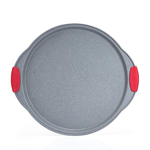 ChaoJia Pizza Tray Oven Baking Megastone Collection Non-Stick with Red Silicone Handle Grips,Carbon Steel 37.5 x 33 x 2 cm Professional Bakeware High Quality Grey Marble