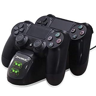 PS4 Controller Ladestation Charger, ZIUMIER Dualshock 4 Playstation 4 Ladegerät Zubehör für Playstation 4 Pro / PS4 Slim / PS4 / Dualshock 4 Games Controller mit USB
