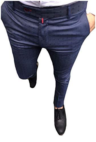 CuteRose Men Classic Plaid Trousers Hidden Expandable-Waist Dress Pants Dark Blue S Classic Pleated Chino