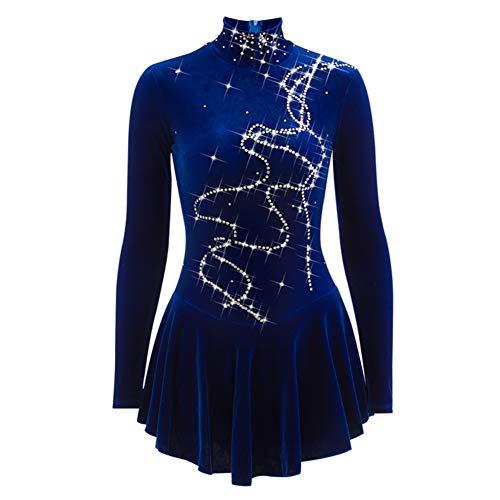 Eiskunstlauf Kleid Für Mädchen, Handarbeit Samt Eislaufen Wettbewerb Kostüm Mit Kristallen Zurück Reißverschluss Langärmelige Rollschuhkleid Blau,14