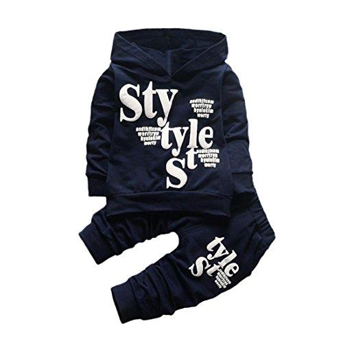 Kinder Winter Kleidung (Kobay Kleinkind Baby Boy Style Brief Drucken Hood Tops Muster Hosen 2 STÜCKE Set Kleidung (90/2Jahr, Marine))