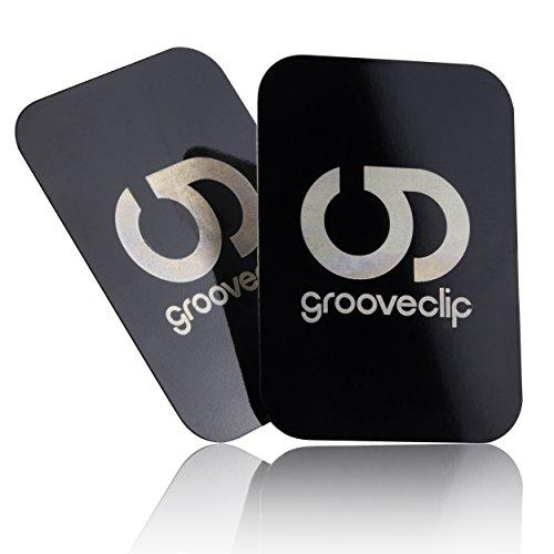 grooveclip Metallplättchen Set für Magnet KFZ Halterungen | 2er Ersatz/Zusatz Set für Handy und Navi | Metall-Platten mit 3M Klebe-Folie | für Magnet-Halter Herstellern
