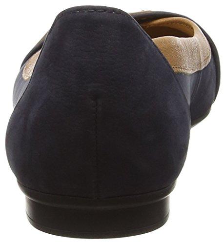 Gabor Indiana, Damen Ballerinas Blue (Dark Blue Nubuck/Brown Leather Trim)