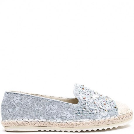 Ideal Shoes - Espadrilles avec dentelle effet pailletée et incrustés de strass Laida Bleu