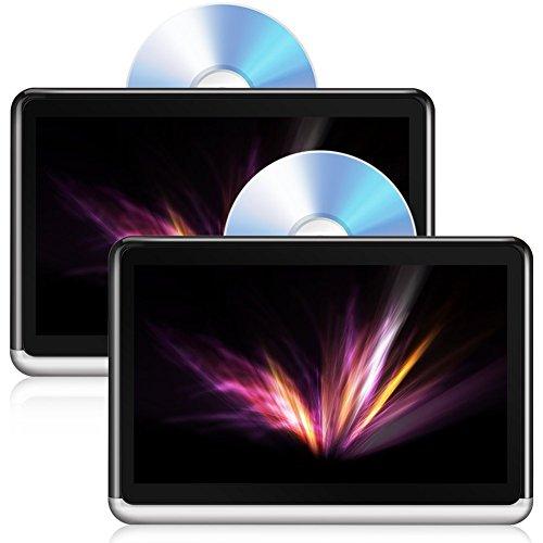 ddauto dda10dd Tablet Android 6.0Tragbarer DVD-Player 25,7cm IPS Touch Bildschirm Auto Kopfstütze Multimedia Monitor, Bluetooth 4.0, integrierter 4000mAh Akku, Unterstützt HDMI, FM, WiFi Neueste Version (2Pcs) (Tragbarer Dvd-player-wifi)