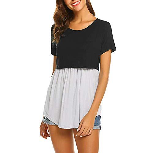 Banaa maglietta premaman donna eleganti camicie stampa splicing t-shirt moda magliette allattamento maglia camicetta divertenti manica corta casual ruffle gravidanza costume regalo semplice