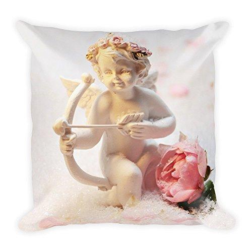 Cupid Engel mit Rose, großes, flauschiges Kissen 45x45 cm, handmade in EU
