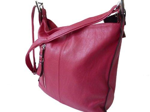 MAHEL 7067-1 große Damen Umhängetasche Tasche in 8 Farben 38x30x15 Pink Rosa