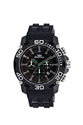 valentine gifts : Ciemme valentine sale Mens Luxury Sports Casual Swiss Quartz Movement Black Bezel Green Hand Black Silicon Strap and Dial Wristwatch