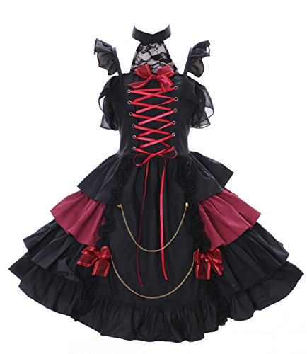 JL-579-1 schwarz rot Vampir Dark Gothic Lolita Kleid Kostüm dress Cosplay stretch (Stretch ()