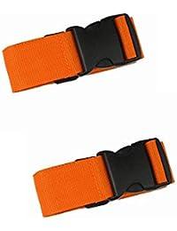 Hencu Luggage Straps Suitcase Belts Travel Bag Accessories 2 Pack (2 Pack, Orange)