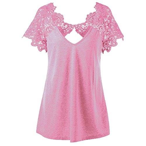 DAY.LIN Kleidung Damen Damen Mode V-Ausschnitt Übergröße Spitze Kurzarm Trim Cutwork T-Shirt Oberteile Spitze Kurzarm-V-Ausschnitt oben (Rosa, XL)