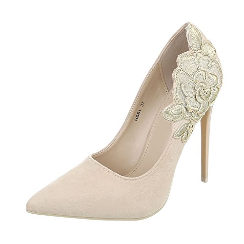 Ital-Design High Heel Pumps Damen-Schuhe High Heel Pumps Pfennig-/Stilettoabsatz High Heels Pumps Beige, Gr 37, Hs61-