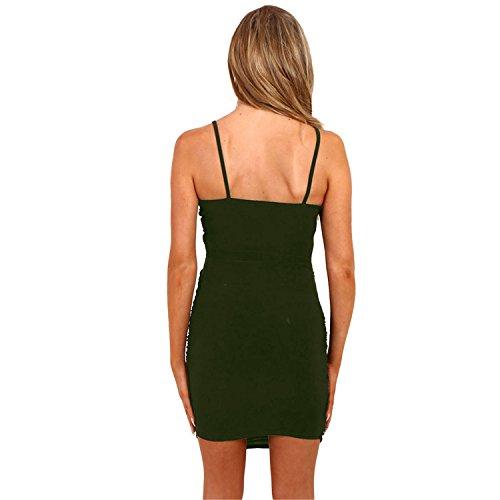 Senza Maniche con spalline Scollo Profondo a V Incrocio Portafoglio Avvolgente Davanti Arricciato Increspato Torcere Mini Bodycon Aderente Fasciante Vestito Abito Esercito verde