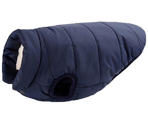 Aisuper Hunde-Weste, Umlegekragen, Winter, warm, weich, gepolstert, zwei Fleece-Schichten, mit Hundegeschirr-Loch