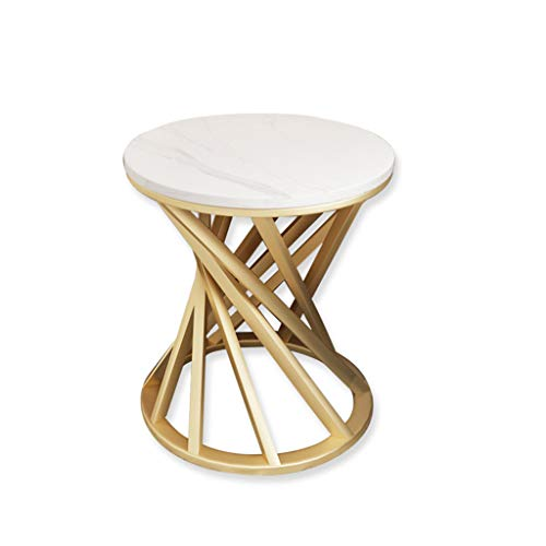 ZIJUAN Table Basse en Marbre Table D'appoint Salon Canapé De Restaurant Plusieurs Coins du Rangement De Chevet (Couleur : Blanc, Taille : 40 * 55cm)