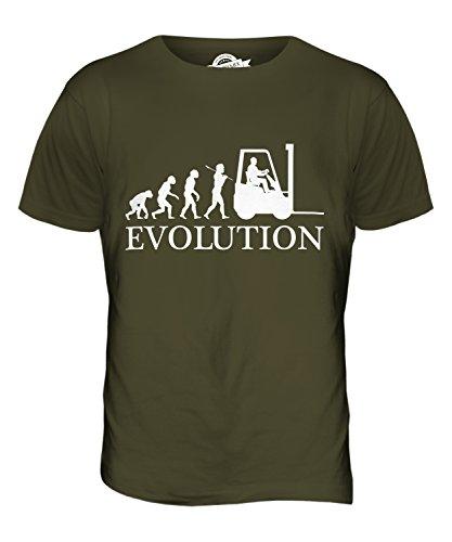 CandyMix Gabelstapler Evolution Des Menschen Herren T Shirt Khaki Grün