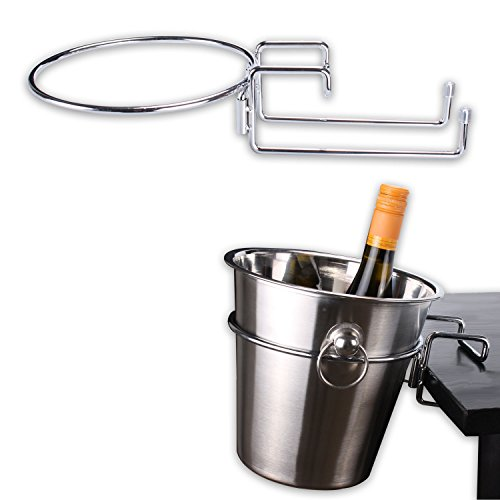 chrome-plated-table-desk-side-champagne-wine-ice-bucket-holder-stand-cooler-rack