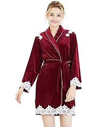 81c2b294ed TieNew Damen SAMT Kimono Morgenmantel Lang Bademantel Fauen Schlafanzug  Negligee Nachthemd Nachtwäsche Unterwäsche V Ausschnitt mit