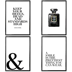 VERSCHIEDENE Poster Set 's » Coco Chanel II « 4 x DIN A4 auch mit Bilderrahmen | Bilder schwarz weiß mit Sprüchen für Wohnzimmer | Kunstdruck, Wandbild, Bild mit Spruch für Schlafzimmer mit Rahmen