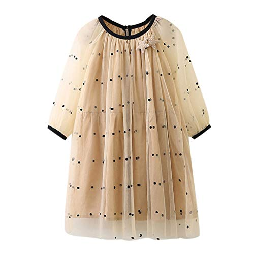 nzessin Kleid Kleinkind Kind Baby Punktdruck Tüll Party Hochzeit Schönheitskleid(Khaki,140) ()