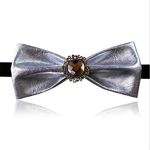 Easy Go Shopping Herren Krawatte Simple Design Metall Kristall Dekoration PU Fliege Pre-Tied Formelle Casual Bowtie für Anzüge und Smoking Einstellbare Länge für Männer (Farbe : Silber) Pretied Bowties