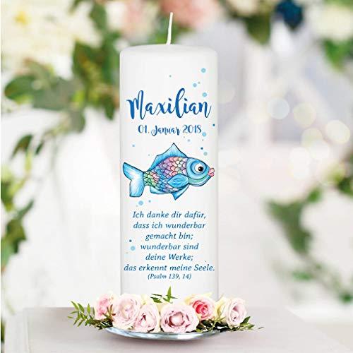 Taufkerze Blauer Regenbogen Fisch mit Wunschdaten - Kerze zur Taufe, Geburt oder Kommunion - 25 x 8 cm/ohne Patenkerze/Junge mit Taufspruch wie abgebildet