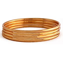 Radha's Creations Golden Bangles For Women and Girls Size 2-4