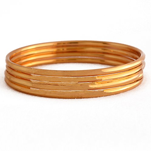 Radha's Creations Plain Golden Metal Shining One Gram Gold Plated Set Of 4 Bangles For Women And Girls